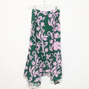 Keepsake Green & Lavender Asymmetrical Maxi Skirt